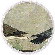 Facsimile Painting Of Geese, Tomb Of Nefermaat And Itet Round Beach Towel