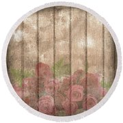Faded Red Country Roses On Wood Round Beach Towel