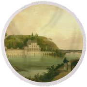 Fairmount Waterworks About 1838 Round Beach Towel