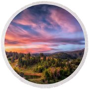 Round Beach Towel featuring the photograph Fairytale Morning by Fiskr Larsen