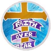 Faith Over Fear Cross  Round Beach Towel