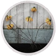 Fake Wilted Flowers Round Beach Towel