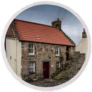Round Beach Towel featuring the photograph Falkland Cottages by Ross G Strachan