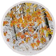 Fall And Snow Round Beach Towel