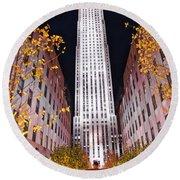 Fall At Rockefeller Center Round Beach Towel