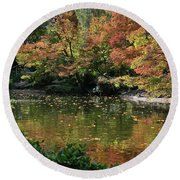 Fall At The Japanese Garden Round Beach Towel