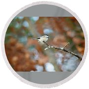 Round Beach Towel featuring the photograph Fall Chickadee by Sue Collura