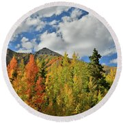 Fall Colored Aspens Bask In Sun At Red Mountain Pass Round Beach Towel