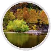 Fall Colors Of The Ozarks Round Beach Towel