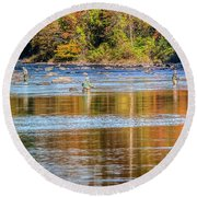 Fall Fishing Reflections Round Beach Towel