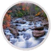 Round Beach Towel featuring the photograph Fall Flow by Russell Pugh