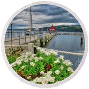 Round Beach Towel featuring the photograph Fall Flowers At Seneca Lake Marina by Lynn Bauer