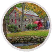 Fall Foliage At The Grist Mill Round Beach Towel