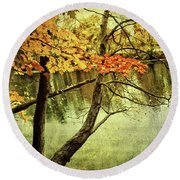 Fall Foliage Gratitude Artwork Round Beach Towel
