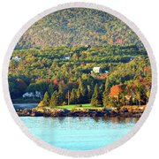 Round Beach Towel featuring the photograph Fall Foliage In Bar Harbor by Bill Swartwout Fine Art Photography