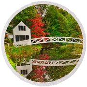 Fall Footbridge Reflection Round Beach Towel