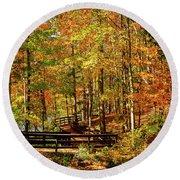 Fall Hike At Mirror Lake Round Beach Towel
