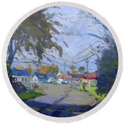 Fall Late Afternoon Round Beach Towel