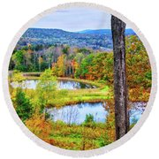 Round Beach Towel featuring the photograph Fall Memories At The Ponds by Lynn Bauer