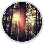 Fall Of Light Round Beach Towel
