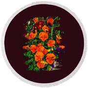 Fall Pansies Round Beach Towel