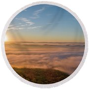Round Beach Towel featuring the photograph Fall Sunrise by Norman Peay