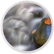 Round Beach Towel featuring the photograph Fallen Leaf And Mountain Stream by Rick Berk