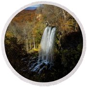 Round Beach Towel featuring the photograph Falling Spring Falls by Pete Federico