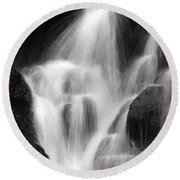 Falling Water, Mount Rainier National Park, Black And White Round Beach Towel