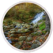 Round Beach Towel featuring the photograph Falls Brook Autumn by Bill Wakeley