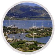 Round Beach Towel featuring the photograph Falmouth Harbour by Tony Murtagh