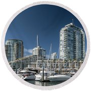 Round Beach Towel featuring the photograph False Creek by Ross G Strachan