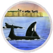 Family Trip To Point Vicente By Vincent Cho Grade 2 Round Beach Towel