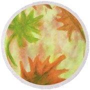 Fanciful Fall Leaves Round Beach Towel