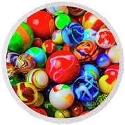 Fantastic Childhood Marbles Round Beach Towel