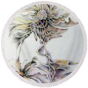 Round Beach Towel featuring the drawing Fantasy by Rosanne Licciardi