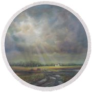 Farm In Spring Round Beach Towel