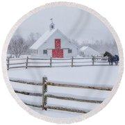 Farm In The Snow Round Beach Towel