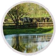 Farm Pond And Cows Round Beach Towel