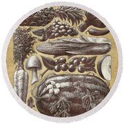 Round Beach Towel featuring the drawing Farmer's Market - Sepia by Clint Hansen