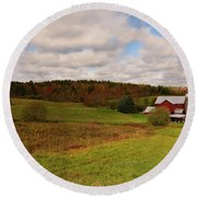 Round Beach Towel featuring the photograph Farmland In Autumn by Angie Tirado