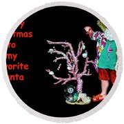 Round Beach Towel featuring the photograph Favorite Tropical Santa Decorating The Christmas Tree by Kay Brewer