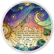 Fearfully And Wonderfully Made Round Beach Towel