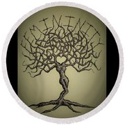 Round Beach Towel featuring the drawing Femininity Love Tree B/w by Aaron Bombalicki