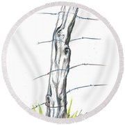 Fence Post Colored Pencil Sketch  Round Beach Towel