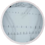 Fences And Trees Round Beach Towel