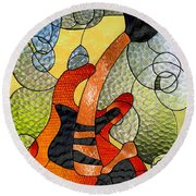 Fender Guitar ..stained Glass Art Work Round Beach Towel