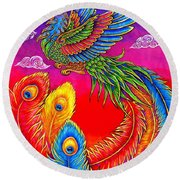Fenghuang Chinese Phoenix Round Beach Towel