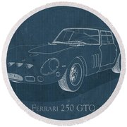 Ferrari 250 Gto - Blueprint Round Beach Towel