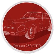 Ferrari 250 Gto - White Blueprint On Red Round Beach Towel
